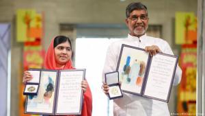 Malala Yousafzai (left) and Kailash Satyarthi after receiving their Nobel Peace Prizes (photo: Reuters/NTB Scanpix/C. Poppe)