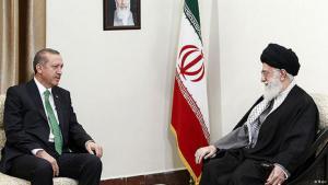 Recep Tayyip Erdogan (left) on a state visit to Ayatollah Ali Khamenei in Tehran (photo: Mehr)