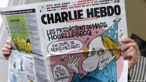 "The most recent edition of ""Charlie Hebdo"" featuring a caricature of Michel Houellebecq (photo: AFP/Getty Images)"