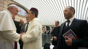 Imam Djelloul Seddiki (right) during a meeting between Pope Francis and French imams in the Vatican (photo: Reuters)