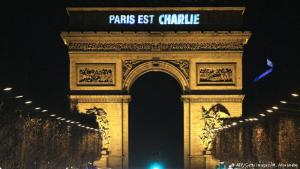 """""""Paris est Charlie"""" (Paris is Charlie) is projected onto the Arc de Triomphe in Paris in tribute to the victims of a deadly attack on the Paris headquarters of the French satirical magazine """"Charlie Hebdo"""". Following a search that lasted two days, elite commando units killed the two men suspected of being responsible for the massacre as well as the man who took hostages at a Jewish supermarket."""
