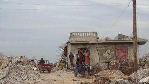 Um Fadi Al-Najjar's house in the Gaza border town of Khuza'a (photo: Ylenia Gostoli)