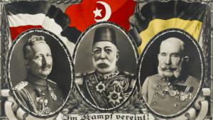 Postcard from the time of the First World War showing the allies Kaiser Wilhelm II, left, Sultan Mehmed V, centre, and Kaiser Franz-Joseph, right (photo: picture-alliance)