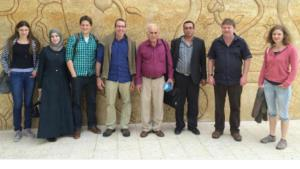 Prof Jorg Kudla (2nd from right) with the tri-national team of researchers at the kick-off meeting in the Palestinian city of Bait Jala, which lies between Jerusalem and Bethlehem (photo: WWU)