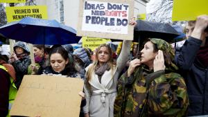People take part in a protest organised by Amnesty International for the immediate release of the Saudi blogger Raif Badawi, in front of the Saudi Embassy in The Hague, 15 January 2015 (photo: Martijn Beekman/AFP/Getty Images)