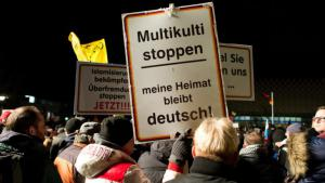 "A sign reading ""Stop Multi-culti. My homeland will remain German"" at a Pegida demonstration in Dresden, 12 January 2015 (photo: picture-alliance/dpa/A. Burgi)"