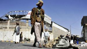 Houthis outside the presidential palace in Sanaa (photo: dpa)