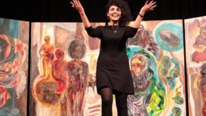 """The Iranian artist Golnar Tabibzadeh after the performance of """"The Forgotten"""" (photo: Morgenland Festival Osnabruck)"""