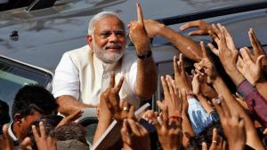 The Hindu nationalist Prime Minister of India, Narendra Modi, during a BJP event in Ahmedabad (photo: Reuters)