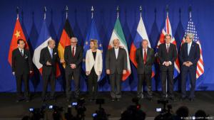 Press conference after the announcement that agreement had been reached in Lausanne by the representatives of Iran, the five UN veto powers and Germany (photo: AFP/Getty Images)