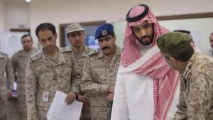 Saudi Defence Minister Prince Mohammed bin Salman and soldiers (photo: Reuters/Saudi Press Agency)