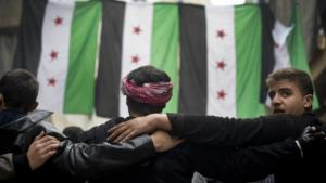 Members of the Syrian opposition in Aleppo (photo: Odd Anderson/AFP/Getty Images)