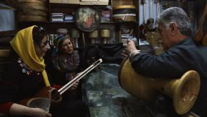 """Sara Najafi and Parvin Namazi (both left) in a still from the film """"No Land's Song"""""""