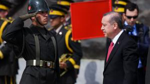 President Erdogan attends the Turkish International Ceremony at Mehmetcik Abidesi Martyrs Memorial to commemorate the centenary of the Gallipoli Campaign, 24 April 2015 (photo: Getty Iamges/ C. Koall)