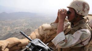 A Saudi soldier on the Yemeni border (photo: imago/Xinhua)
