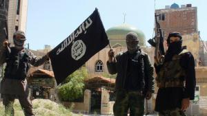 IS militants posing in Yarmouk Palestinian camp, Damascus, Syria (photo: picture-alliance/abaca/Balkis Press)
