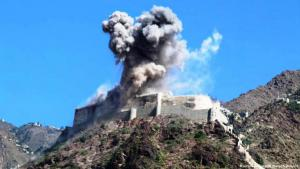 Bombardment of the Qahira fortress in Taiz (photo: AP)
