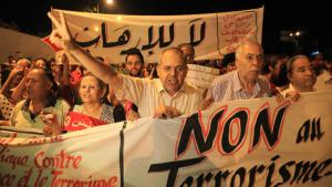 Tunisians demonstrate against terrorism following the Sousse attack (photo: picture-alliance/AA/Y. Gaidi)