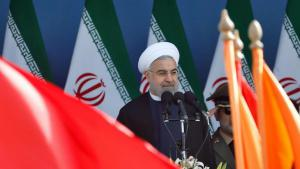 Iran's President Hassan Rouhani during a military parade in Tehran (photo: picture-alliance/epa/A. Taherkenareh)