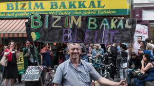 Residents of Berlin protesting about the threatened closure of the fruit and vegetable shop Bizim Bakkal in Berlin Kreuzberg (photo: James Robinson)
