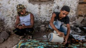 Aiham Ehab Makyam, 21, and Gofran Hussein Mohammed, 22, arrived in Djibouti by boat from Aden in late May. Today, Djibouti is the only neighbouring country that is accepting refugees from Yemen. Crossing the Gulf of Aden is the only way to get there.