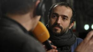 Iranian filmmaker Ayat Najafi being interviewed (photo: imageo/Seeliger)