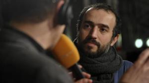 Iranian filmmaker Ayat Najafi being interviewed (photo: imageo/Seeliger)