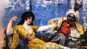 "Illustration from the ""Thousand and One Nights"": the virgin Scheherazade tells King Shariyar stories to save her own life (photo: picture-alliance/akg-images)"