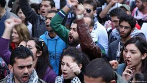 Lebanese demonstrators protesting in Beirut in February 2013 (photo: DW)