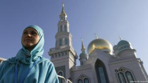 A Muslim woman in front of the newly opened mosque in Moscow (photo: Reuters)