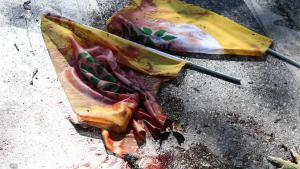 A blood-stained flag at the Ankara bomb site (photo: Getty Images/G. Tan)