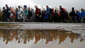 Refugees cross from Serbia into Croatia at Babska (photo: Reuters/D. Ruvic)