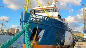 """Rescue-ready: along with the Phoenix and the Argos, the """"Dignity 1"""" makes up the rescue fleet MSF is running in the Mediterranean Sea throughout 2015. This 50-meter long vessel has brought aboard more than 5,000 people from the sea. Together, the three MSF ships have rescued 17,000 people. They operate in an area that stretches along an imaginary line 30 nautical miles off the coast of Libya"""