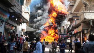 Civilians flee Assad's bombs in Aleppo (photo: Reuters)