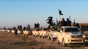 Column of IS vehicles (photo: picture-alliance/AP)