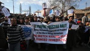 Indian Muslims in Kashmir protest against the Charlie Hebdo cover (photo: picture-alliance/F. Khan)