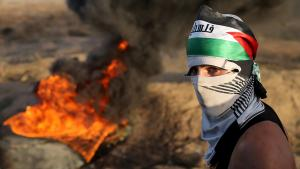 Rioting on Tsrael's border with the Gaza Strip (photo: REUTERS/Ibraheem Abu Mustafa)