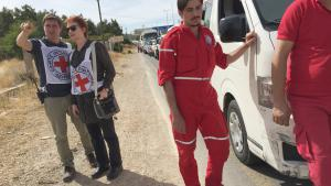 An International Red Cross (ICRC) aid convoy en route to the besieged Syrian town of Madaya (photo: ICRC/Pawel Krzysiek/dpa)
