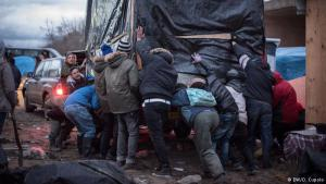 "The relocation effort: independent volunteers have been helping Calais residents move their homes after French authorities called for a 100-metre buffer zone to be cleared around a highway adjacent to the camp. ""We hope to let them keep their dignity and whatever self respect they still have after being stuck in this dump,"" said a volunteer who wanted to remain anonymous"