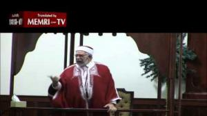 The cleric Abdelfattah Mourou, vice-president of the Tunisian parliament and co-founder of the Ennahdha party (source: YouTube)