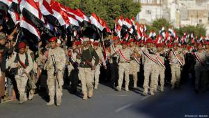 Saudi troops on their way to fight Houthi rebels in Yemen