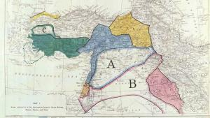 Geographical divisions in the Middle East according to the Sykes-Picot agreement following the collapse of the Ottoman Empire (source: British Library)