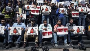Egyptian journalists and photographers protest against the government′s repressive stance towards freedom of expression (photo: AFP/Getty Images)