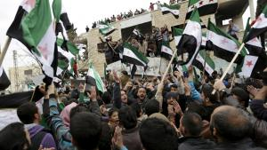 4 March 2016: peaceful protests against the Assad regime by supporters of the Free Syrian Army in Marat Numan, Idlib province (photo: Reuters/K. Ashawi)