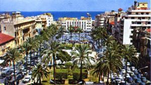 Old postcard image of Martyrs' Square, Beirut (photo: Elie Wardini 1995)