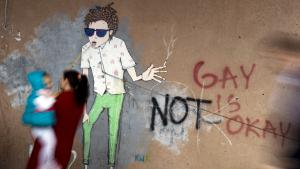 Homophobic graffiti on a house wall (photo: Getty Images/AFP/A. Nimani)