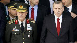 Turkish Army Chief of Staff Hulusi Akar with Erdogan (photo: Reuters)