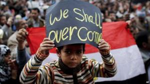 Egyptian boy demonstrating on Tahrir Square in 2011 (photo: AP)