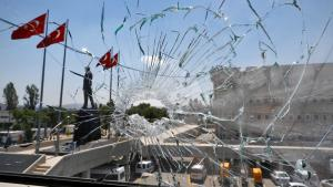 A damaged window at the police headquarters in Ankara on 18 July 2016 (photo: Reuters/O. Orsal)
