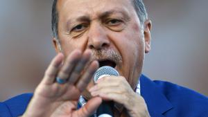 Turkish president Recep Tayyip Erdogan speaks to supporters at Gaziantep on 28.08.2016 (photo: picture-alliance/dpa/S. Suna)